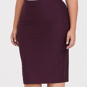 BURGUNDY PURPLE PREMIUM PONTE RELAXED FIT PENCIL
